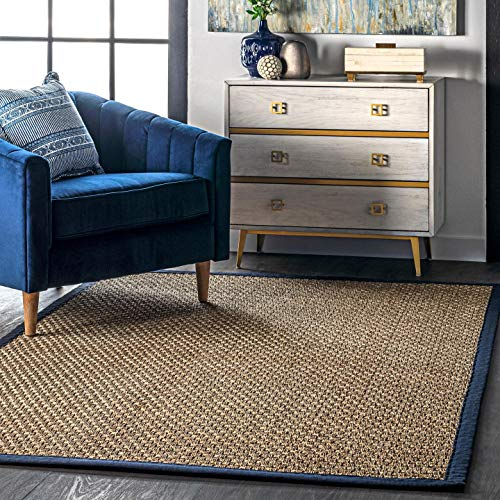 NuLOOM Hesse Seagrass Solid Outdoor Area Rug 9 X 12 Navy 0