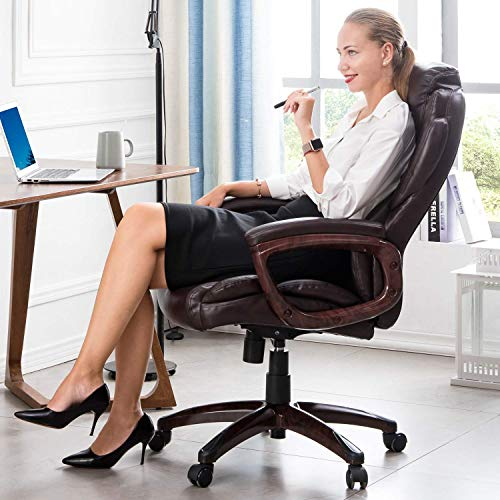 Ovios Executive Office Chair High Back Desk Chair Leather Computer Desk Chair For Home Office Dark Brown Farmhouse Goals