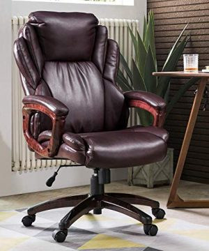 Ovios Executive Office ChairHigh Back Desk ChairLeather Computer Desk Chair For Home Office Dark Brown 0 300x360