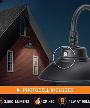 14in Black Gooseneck Barn Light LED Fixture For IndoorOutdoor Use Photocell Included Swivel Head 42W 3800lm Energy Star Rated ETL Listed Sign Lighting 3000K Warm White 0 0 300x360