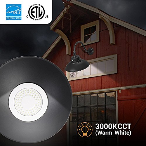 14in Black Gooseneck Barn Light LED Fixture For IndoorOutdoor Use Photocell Included Swivel Head 42W 3800lm Energy Star Rated ETL Listed Sign Lighting 3000K Warm White 0 3