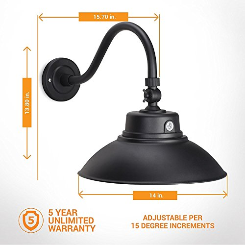 2 Pack 14in Black Gooseneck Barn Light LED Fixture For IndoorOutdoor Use Photocell Included Swivel Head 42W 3800lm Energy Star Rated ETL Listed Sign Lighting 3000K Warm White 0 1