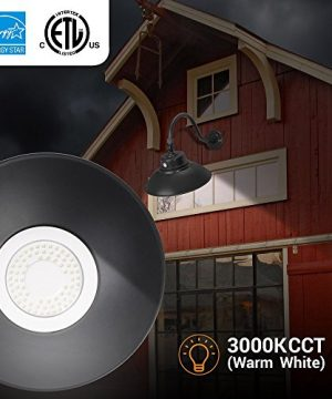 2 Pack 14in Black Gooseneck Barn Light LED Fixture For IndoorOutdoor Use Photocell Included Swivel Head 42W 3800lm Energy Star Rated ETL Listed Sign Lighting 3000K Warm White 0 3 300x360