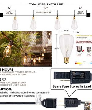 25Ft Outdoor Edison Bulb String Lights With 27 Edison ST35 Bulbs Plus 2 Extra Bulbs UL Listed For IndoorOutdoor Decor Perfect For Patio Garden Backyard Porches Bistro Party Black Wire 0 0 300x360
