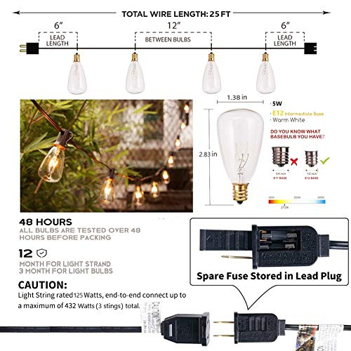 25Ft Outdoor Edison Bulb String Lights With 27 Edison ST35 Bulbs Plus 2 Extra Bulbs UL Listed For IndoorOutdoor Decor Perfect For Patio Garden Backyard Porches Bistro Party Black Wire 0 0