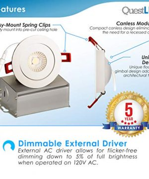 4 Inch J Box Round Ultra Thin Gimbal Tilt Canless Downlight 6 Pack 6W 360 Degree Of Freedom With 180 Of Pitch Angle 500 LMS CRI90 120V Wet Rated IP67 5 YR Warranty 4000K 0 1 300x360
