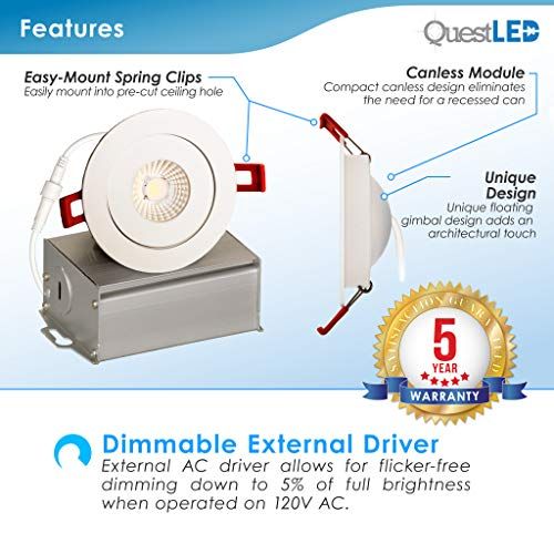 4 Inch J Box Round Ultra Thin Gimbal Tilt Canless Downlight 6 Pack 6W 360 Degree Of Freedom With 180 Of Pitch Angle 500 LMS CRI90 120V Wet Rated IP67 5 YR Warranty 4000K 0 1