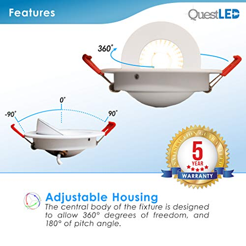 4 Inch J Box Round Ultra Thin Gimbal Tilt Canless Downlight 6 Pack 6W 360 Degree Of Freedom With 180 Of Pitch Angle 500 LMS CRI90 120V Wet Rated IP67 5 YR Warranty 4000K 0 2