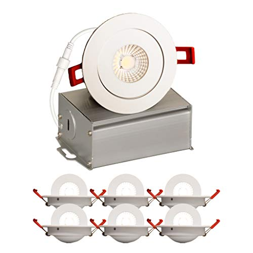 4 Inch J Box Round Ultra Thin Gimbal Tilt Canless Downlight 6 Pack 6W 360 Degree Of Freedom With 180 Of Pitch Angle 500 LMS CRI90 120V Wet Rated IP67 5 YR Warranty 4000K 0