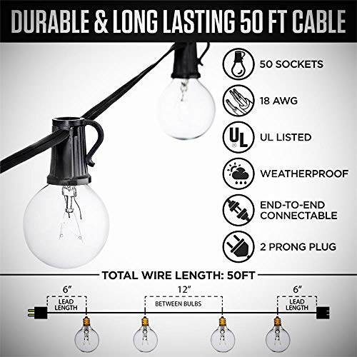 50Ft String Lights G40 String Lights With 52 Clear Bulbs UL Listed For Patio Garden Wedding Backyard Deck Pergolas Gazebos Blacony String Lights Indoor Outdoor Commercial Use Black Wire 0 0