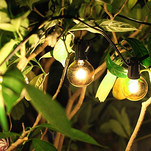 50Ft String Lights G40 String Lights With 52 Clear Bulbs UL Listed For Patio Garden Wedding Backyard Deck Pergolas Gazebos Blacony String Lights Indoor Outdoor Commercial Use Black Wire 0 3