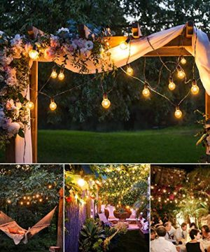 50Ft String Lights G40 String Lights With 52 Clear Bulbs UL Listed For Patio Garden Wedding Backyard Deck Pergolas Gazebos Blacony String Lights Indoor Outdoor Commercial Use Black Wire 0 5 300x360