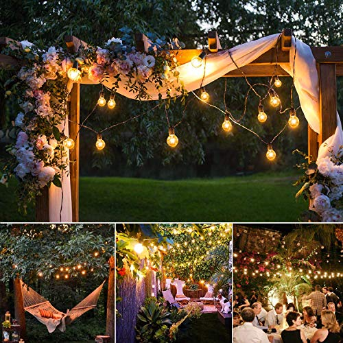 50Ft String Lights G40 String Lights With 52 Clear Bulbs UL Listed For Patio Garden Wedding Backyard Deck Pergolas Gazebos Blacony String Lights Indoor Outdoor Commercial Use Black Wire 0 5