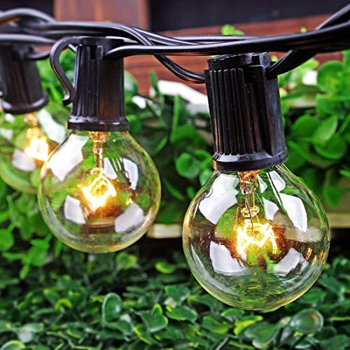 50Ft String Lights G40 String Lights With 52 Clear Bulbs UL Listed For Patio Garden Wedding Backyard Deck Pergolas Gazebos Blacony String Lights Indoor Outdoor Commercial Use Black Wire 0