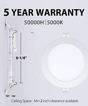 6 Inch Ultra Thin Led Recessed Lights 5000K Daylight Dimmable Ceiling Light Downlight With Junction Box 125W 850 Lm ETL And Energy Star Certified 6 Pack 0 0 300x360