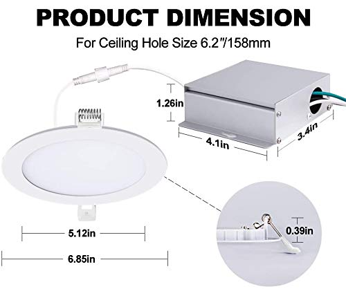6 Inch Ultra Thin Led Recessed Lights 5000K Daylight Dimmable Ceiling Light Downlight With Junction Box 125W 850 Lm ETL And Energy Star Certified 6 Pack 0 4