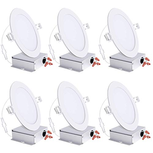 6 Inch Ultra Thin Led Recessed Lights 5000K Daylight Dimmable Ceiling Light Downlight With Junction Box 125W 850 Lm ETL And Energy Star Certified 6 Pack 0