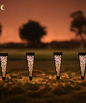 6Pcs Solar Pathway Garden Lights Outdoor Decorative Stakes Waterproof LED Landscape Lighting For Lawn Walkway Patio Yard 8 Lumens 0 300x360
