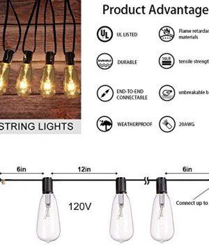 AGICLIGHT 25ft Outdoor Edison Bulb String Lights ST35 Edison BulbsPlus 2 Extra Bulbs UL Listed For IndoorOutdoor Decor Perfect For GardenBackyardPergolaPatioParty Black 0 0 300x360