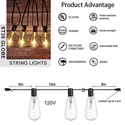 AGICLIGHT 25ft Outdoor Edison Bulb String Lights ST35 Edison BulbsPlus 2 Extra Bulbs UL Listed For IndoorOutdoor Decor Perfect For GardenBackyardPergolaPatioParty Black 0 0