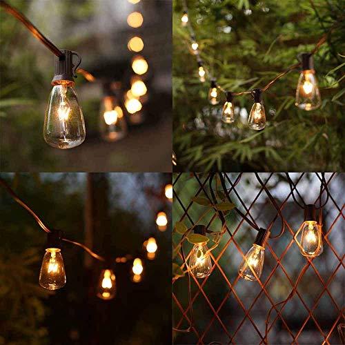 AGICLIGHT 25ft Outdoor Edison Bulb String Lights ST35 Edison BulbsPlus 2 Extra Bulbs UL Listed For IndoorOutdoor Decor Perfect For GardenBackyardPergolaPatioParty Black 0 3