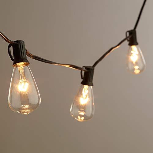 AGICLIGHT 25ft Outdoor Edison Bulb String Lights ST35 Edison BulbsPlus 2 Extra Bulbs UL Listed For IndoorOutdoor Decor Perfect For GardenBackyardPergolaPatioParty Black 0