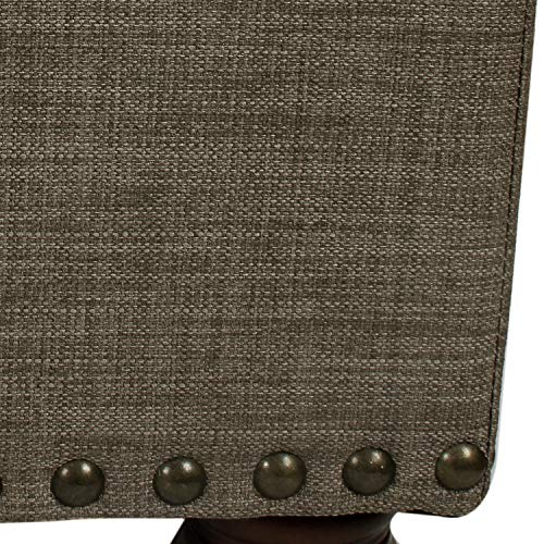 Adeco Rectangular Fabric Bench Tufted Lift Top Footrest 40 Inches Large Storage Ottoman Sturdy Design Dark Brown 0 3