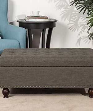 Adeco Rectangular Fabric Bench Tufted Lift Top Footrest 40 Inches Large Storage Ottoman Sturdy Design Dark Brown 0 300x360