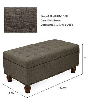 Adeco Rectangular Fabric Bench Tufted Lift Top Footrest 40 Inches Large Storage Ottoman Sturdy Design Dark Brown 0 5 300x360