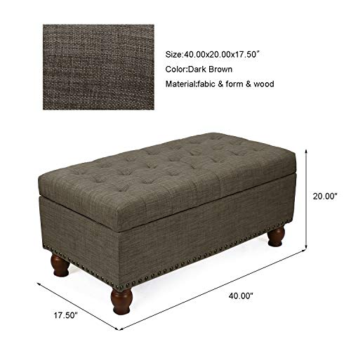 Adeco Rectangular Fabric Bench Tufted Lift Top Footrest 40 Inches Large Storage Ottoman Sturdy Design Dark Brown 0 5