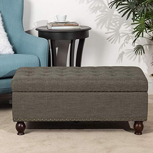Adeco Rectangular Fabric Bench Tufted Lift Top Footrest 40 Inches Large Storage Ottoman Sturdy Design Dark Brown 0