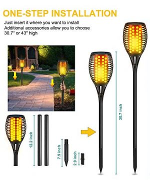 Aityvert Solar Lights 43 Flickering Flames Torch Lights Outdoor Waterproof Landscape Decoration Lighting Dusk To Dawn Auto OnOff Security Flame Lights For Yard Garden Pathway Driveway 4 Pack 0 2 300x360