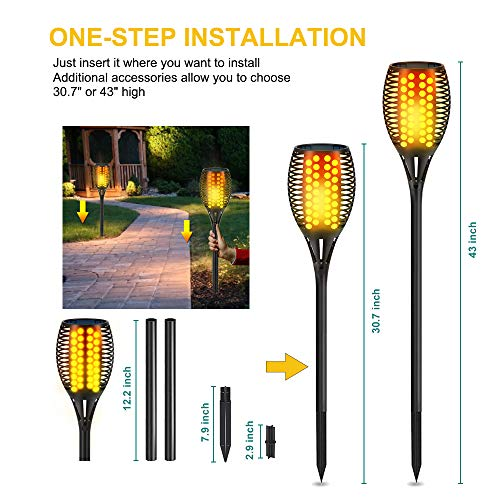 Aityvert Solar Lights 43 Flickering Flames Torch Lights Outdoor Waterproof Landscape Decoration Lighting Dusk To Dawn Auto OnOff Security Flame Lights For Yard Garden Pathway Driveway 4 Pack 0 2