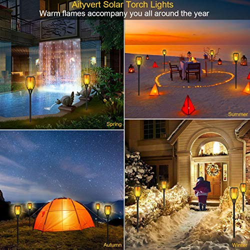 Aityvert Solar Lights 43 Flickering Flames Torch Lights Outdoor Waterproof Landscape Decoration Lighting Dusk To Dawn Auto OnOff Security Flame Lights For Yard Garden Pathway Driveway 4 Pack 0 4