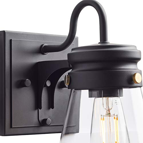 Amazon Brand Stone Beam Rustic Farmhouse Indoor Outdoor Glass Shade Wall Sconce Fixture With Light Bulb 5 X 725 X 1025 Inches Matte Black 0 1