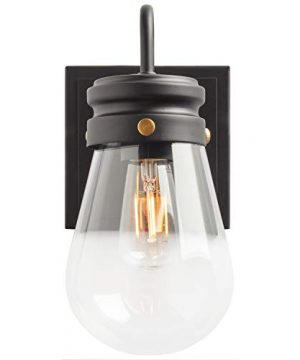 Amazon Brand Stone Beam Rustic Farmhouse Indoor Outdoor Glass Shade Wall Sconce Fixture With Light Bulb 5 X 725 X 1025 Inches Matte Black 0 2 300x360