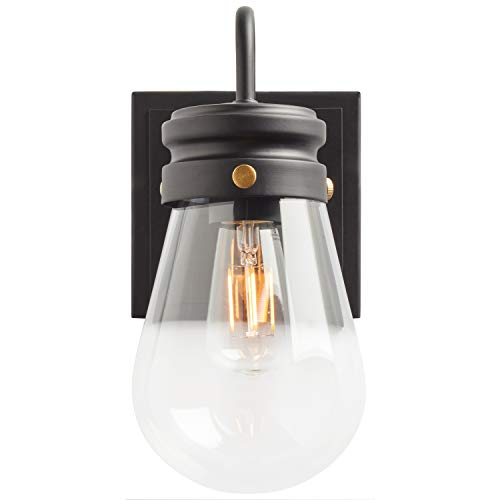 Amazon Brand Stone Beam Rustic Farmhouse Indoor Outdoor Glass Shade Wall Sconce Fixture With Light Bulb 5 X 725 X 1025 Inches Matte Black 0 2
