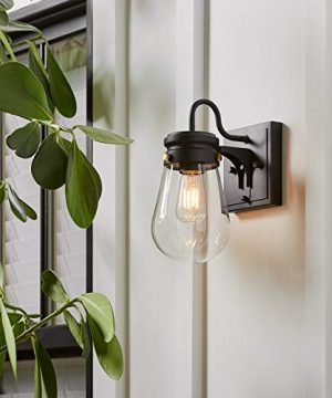 Amazon Brand Stone Beam Rustic Farmhouse Indoor Outdoor Glass Shade Wall Sconce Fixture With Light Bulb 5 X 725 X 1025 Inches Matte Black 0 4 300x360
