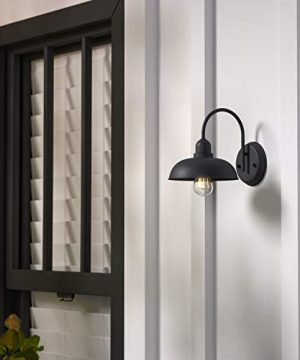 Amazon Brand Stone Beam Rustic Industrial IndoorOutdoor Wall Sconce Light With Bulb 927H Black 0 4 300x360