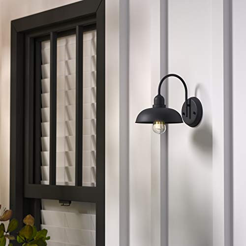 Amazon Brand Stone Beam Rustic Industrial IndoorOutdoor Wall Sconce Light With Bulb 927H Black 0 4