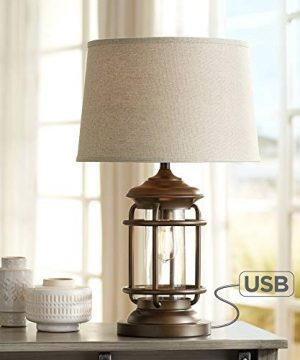 Andreas Industrial Table Lamp With Nightlight And USB Port Brown Metal Oatmeal Fabric Tapered Drum Shade Antique LED Edison Bulb For Living Room Bedroom Bedside Nightstand Office Franklin Iron Works 0 300x360