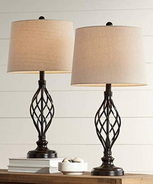 Annie Traditional Table Lamps Set Of 2 Bronze Iron Scroll Tapered Cream Drum Shade For Living Room Family Bedroom Franklin Iron Works 0 300x360