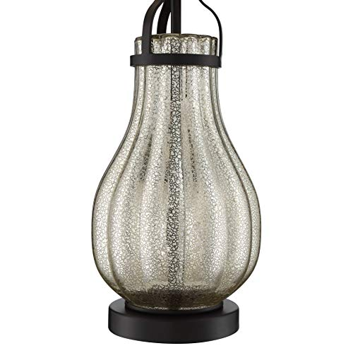 Arian Modern Farmhouse Table Lamp Oil Rubbed Bronze Fluted Mercury Glass White Drum Shade For Living Room Bedroom Bedside Nightstand Office Family Franklin Iron Works 0 2
