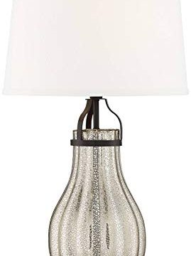 Arian Modern Farmhouse Table Lamp Oil Rubbed Bronze Fluted Mercury Glass White Drum Shade For Living Room Bedroom Bedside Nightstand Office Family Franklin Iron Works 0 4 269x360