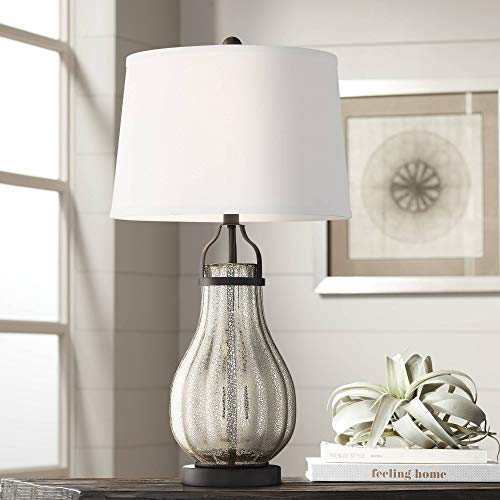Arian Modern Farmhouse Table Lamp Oil Rubbed Bronze Fluted Mercury Glass White Drum Shade For Living Room Bedroom Bedside Nightstand Office Family Franklin Iron Works 0