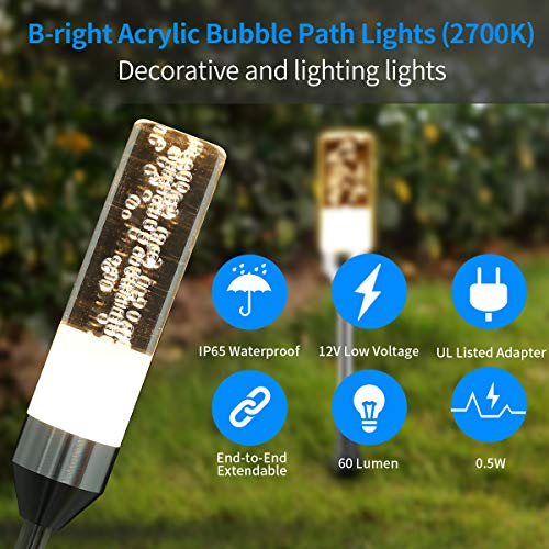 B Right Path Lights Outdoor 6 Pcs LED Pathway Lights Acrylic Bubble 12V Low Voltage Landscape Lighting Plug In Extendable Waterproof Garden Lights 360 Lumens For Patio Yard Lawn 2700K 0 2