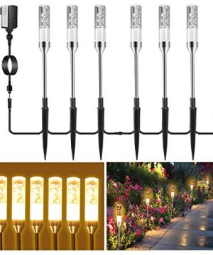 B Right Path Lights Outdoor 6 Pcs LED Pathway Lights Acrylic Bubble 12V Low Voltage Landscape Lighting Plug In Extendable Waterproof Garden Lights 360 Lumens For Patio Yard Lawn 2700K 0 300x360