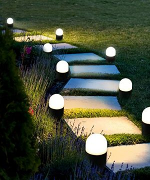 BEEZOK Outdoor Landscape Path Lights Low Voltage 4 Pack LED Round Bollard Small Garden Lighting Fixture IP65 Paradise Cast Aluminum LED Walkway Light For Pathway Yard Lawn DrivewayWarm White Lamp 0 300x360