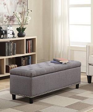 BELLEZE 48 Rectangular Gray Storage Fabric Ottoman Bench Tufted Footrest Lift Top 0 300x360