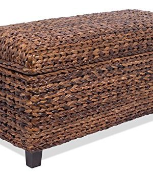 BIRDROCK HOME Abaca Storage Ottoman Bench Bed Storage Trunk Espresso Bench Chest Safety Hinges 0 300x345